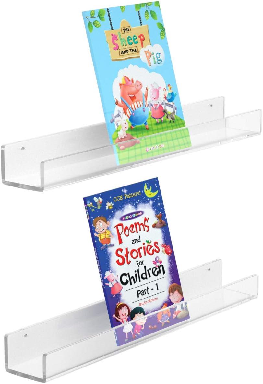 Femeli Acrylic Floating Wall Ledge Book Shelf for Kid With Lip,24 Inch Wall Mount Display Shelf Organizer for Nursery Room Bathroom Dorm,Set Of 2