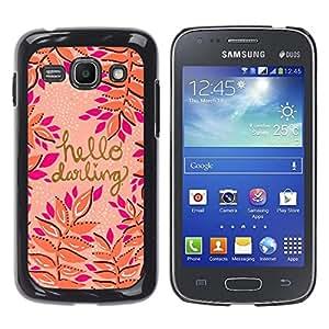 YOYOYO Smartphone Protección Defender Duro Negro Funda Imagen Diseño Carcasa Tapa Case Skin Cover Para Samsung Galaxy Ace 3 GT-S7270 GT-S7275 GT-S7272 - hola querida oro durazno rosa púrpura del texto