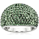 Sterling Silver Green Dome Swarovski Elements Dome Ring, Size 7