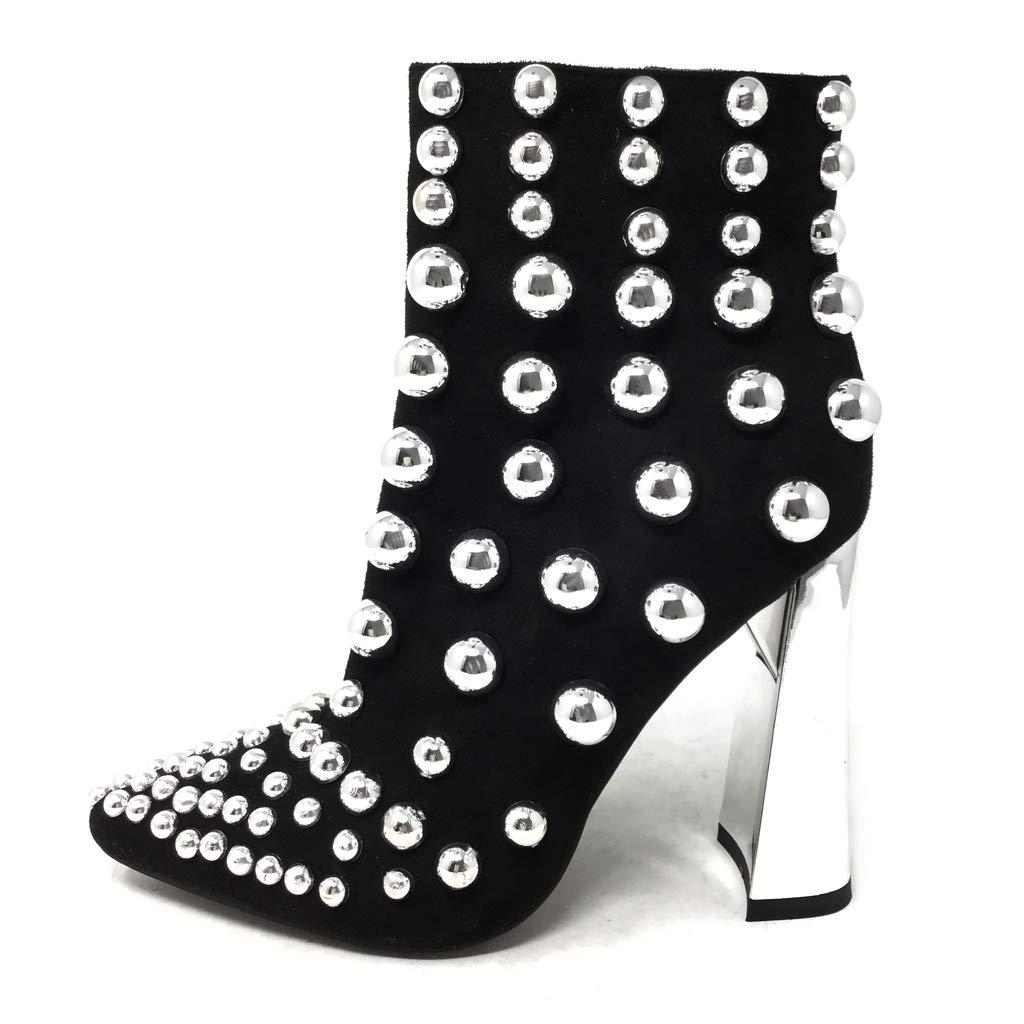 Angkorly - Damen Schuhe Stiefeletten - Abend - Glam Glam Glam Rock - Biker - Nieten-Besetzt - Perle Blockabsatz high Heel 10.5 cm 6a1ad3