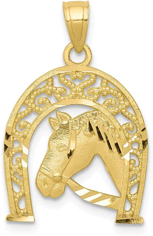 10K Yellow Gold Charm Pendant Themed 23 mm 16 Good Luck Horseshoe With Horse