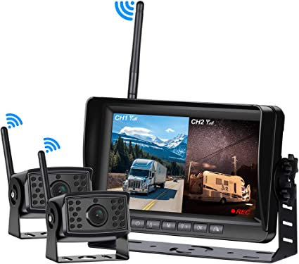 "7/"" Monitor /& Rear View Backup Camera Built-in Wireless kits for RV Truck Bus VAN"