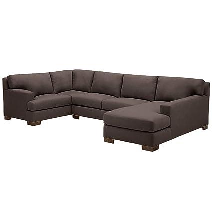 Wondrous Amazon Com Bradbury 3 Piece Sectional Sofa Chocolate Raf Inzonedesignstudio Interior Chair Design Inzonedesignstudiocom