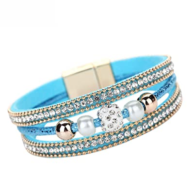 Gahrchian Diamond Bracelet Boho Pearl Swarovski Crystal Wrist Cuff Bracelets for Women Girl Sister Mother Friends Jewelry (Blue): Clothing