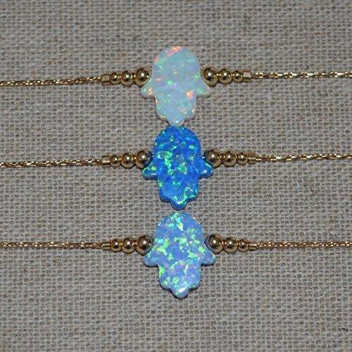 Opal Hamsa Bracelet, Gold Bracelet, tiny opal hamsa hand bracelet, protection/good luck bracelet, opal jewelry/jewelery
