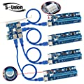 S-Union 4 in 1 PCI-E Riser Adapter Board +6-Pins VER 006C PCl-E 16x to 1x Powered Riser Adapter Card with 50cm USB 3.0 Extension Cable & Molex SATA Power Cable & GPU Riser Adapter Ethereum Mining ETH