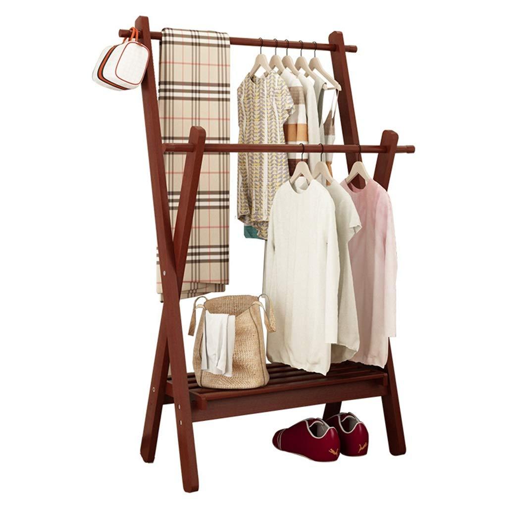 MYJ-Coat rack Faltbare Kleiderstange mit Bodenregal, Garderobe mit doppelten Kleiderstangen 165x73.5x44cm