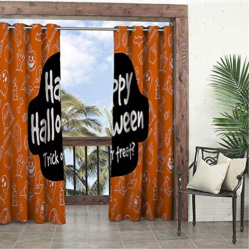 Linhomedecor Garden Waterproof Curtains Happy Halloween Trick or Treat Multicolor Porch Grommet Printed Curtain 84 by 108 -