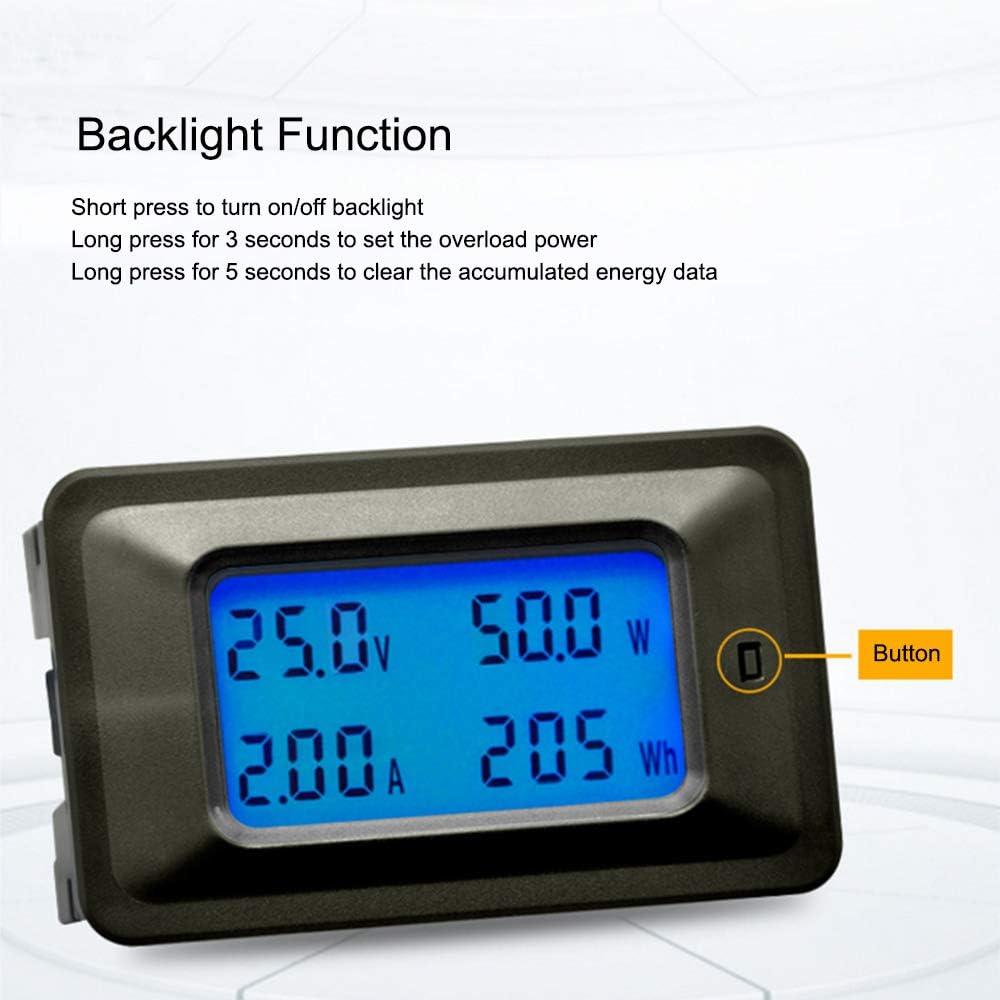 Multifuncional 100V 20A Pantalla de retroiluminaci/ón LCD Medidor digital Medidor de voltaje//corriente//potencia//energ/ía Monitor de mult/ímetro medidor Volt/ímetro Incorporado en derivaci/ón