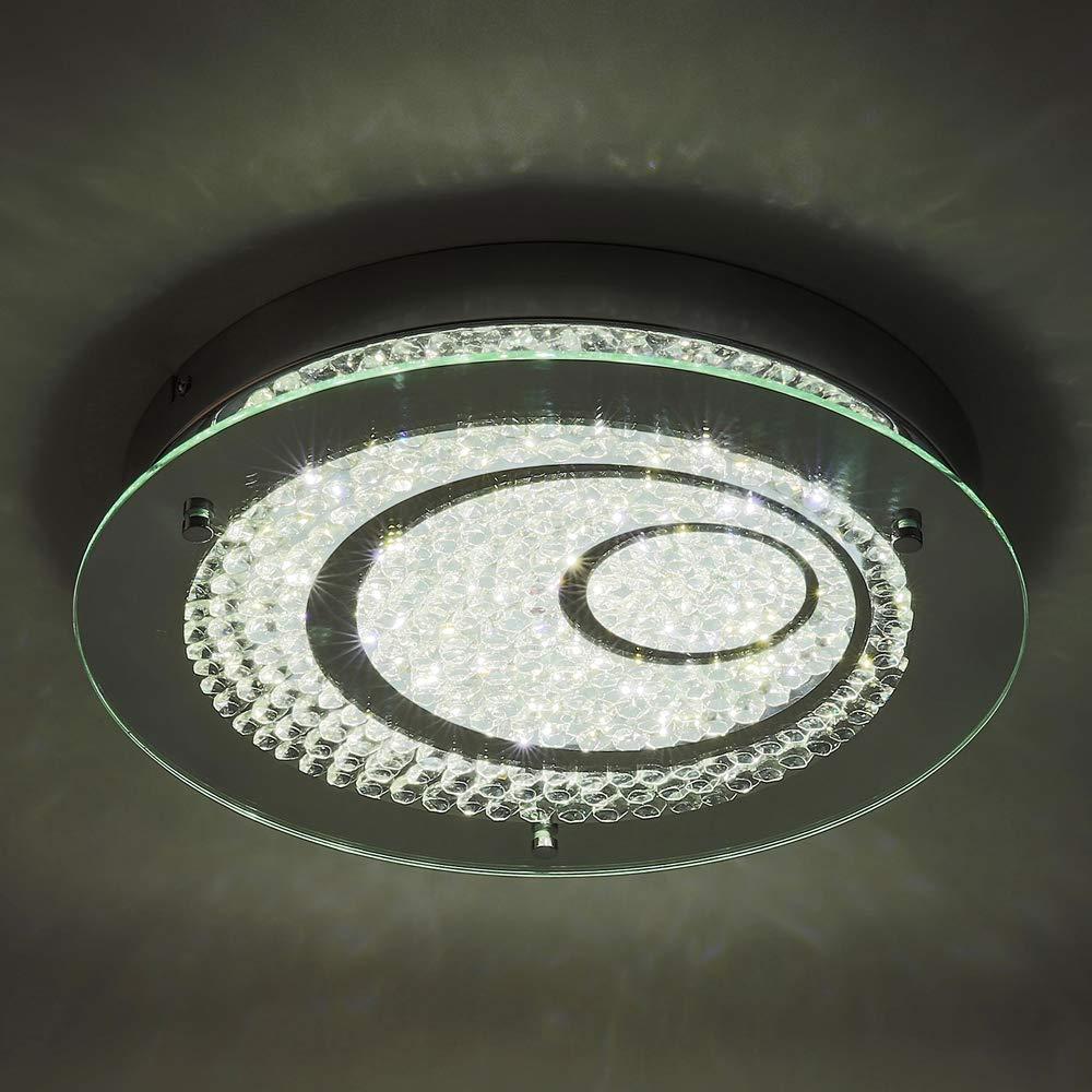 Horisun LED Cryatal Ceiling Lights, 13.8inch Dinmmable Flush Mount Lighting Fixture, Modern Crystal Glass Shade Crystal 4000K 1980LM Daylight White for Livingroom, Dinning Room, Bedroom, Kitchen