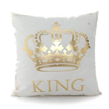Amazon.com: Bronzing funda de almohada King Queen Letra Luna ...