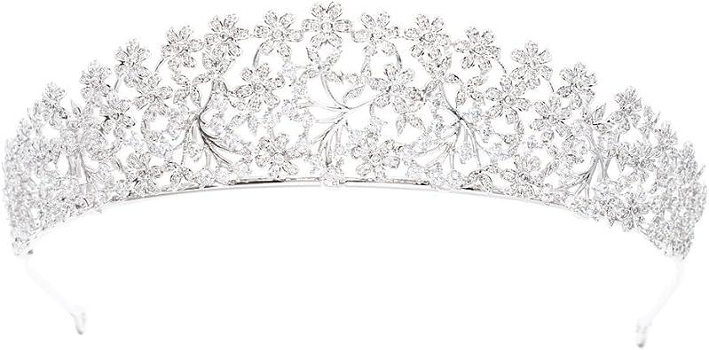 Austrian Crystals CZ Meghan Princess Wedding Bridal Tiara Crown Hair Accessories