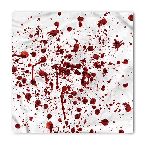 Ambesonne Unisex Bandana, Horror Splashes of Blood Scary, Red White ()