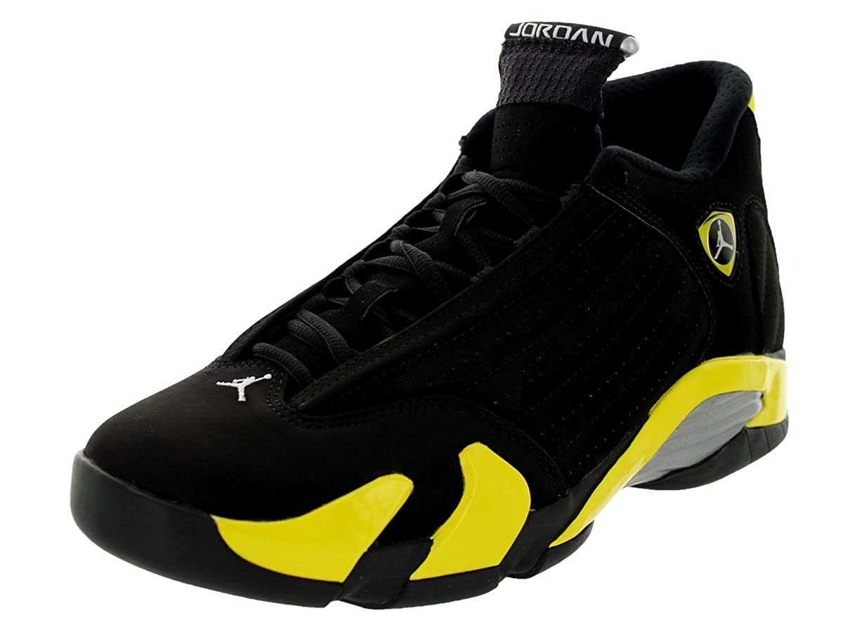 15b6632035a4 ... get amazon jordan nike mens air 14 retro black vibrant yellow white  basketball shoe 12 men