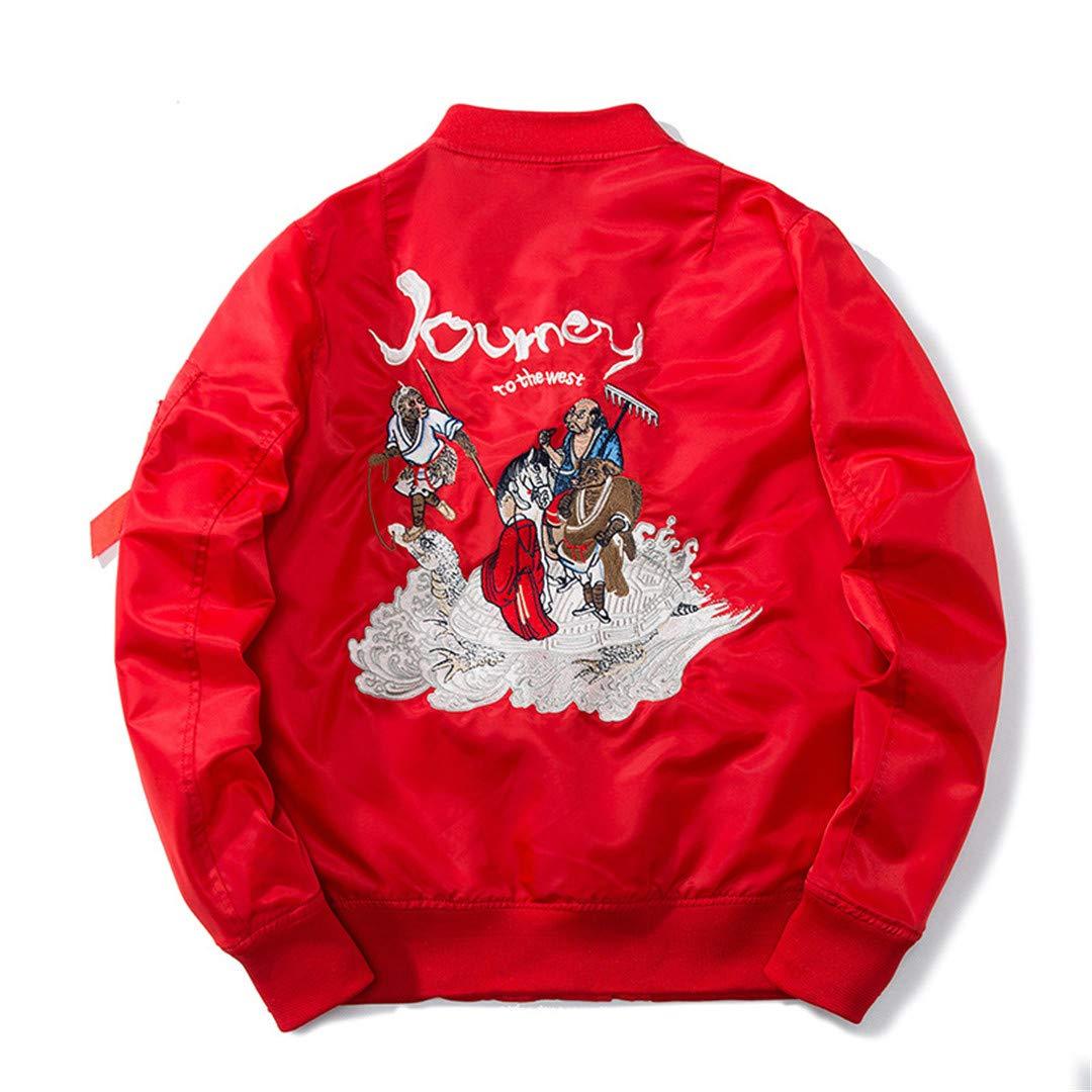 Henreiba Autumn Men Embroidery Baseball Cartoon Comics Pilot Flight Jacket