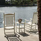 POLYWOOD PWS140-1-WH Jefferson 3-Piece Rocker Chair Set, White