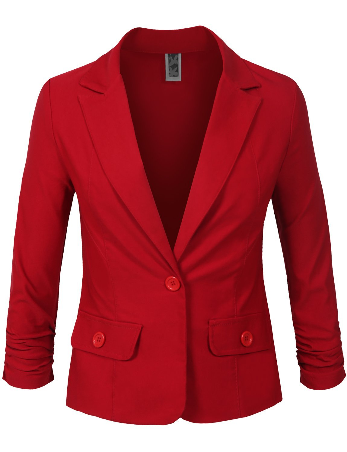 NE PEOPLE Womens 3/4 Scrunched Sleeve One Button Blazer Office Jacket -Red-M