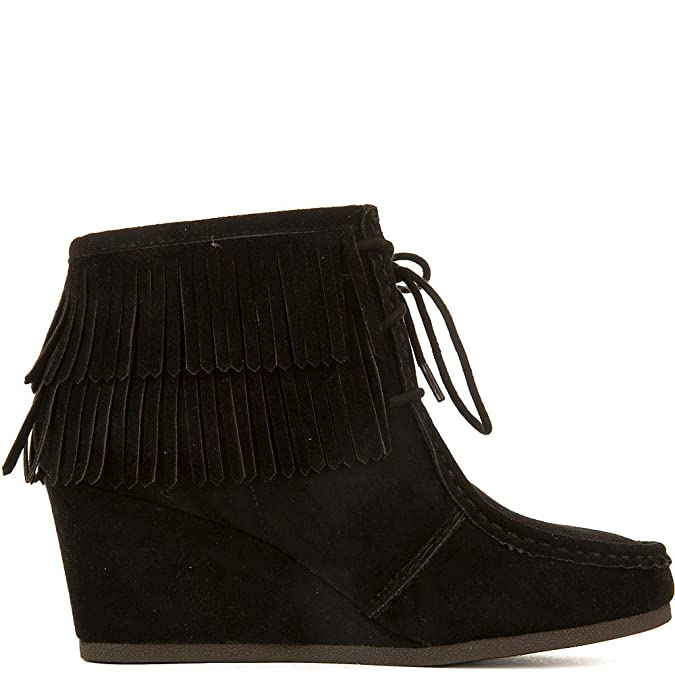 13ac7cbc1bbb6 Amazon.com | SODA Women's Inout-S Wedge Fringe Ankle Boot Black | Shoes