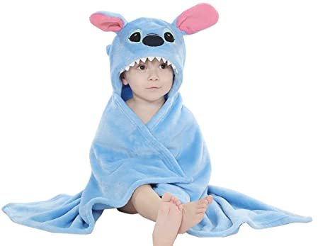 Niños bebé albornoz, diseño de Stitch con capucha suave forro polar traje de baño para