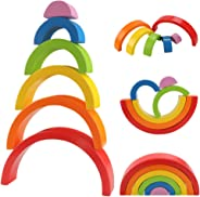 HZONE Wooden Rainbow Stacker Toys, Large Nesting Puzzle Creative Building Blocks Color Shape Matching Educational Toys for T