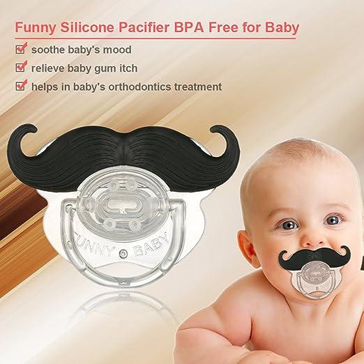 decdeal Bigote Tetina Chupete de silicona Bigote BPA gratuito para bebé