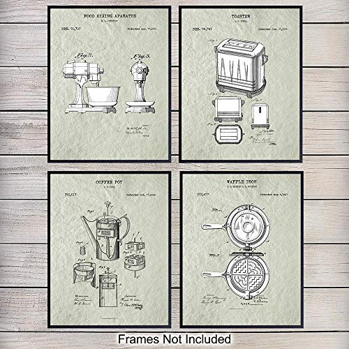 Cooking Baking Breakfast Patent Art Prints – Vintage Kitchen Appliances Wall Art Poster Set – Chic Rustic Home Decor…