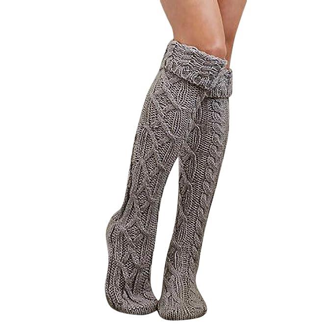 22e3d27e3 Amazon.com  Quelife Women Christmas Warm Thigh High Long Stockings Knit  Over Knee Woolen Socks (Gray12