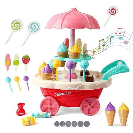 GKPLY Juego de Juguetes para niños de Helados Caramelos de simulación, música, luz,