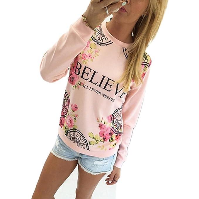GillBerry Niña Mujer Estampado floral Manga larga Cálida Preciosa Blusa (S, Rosado)