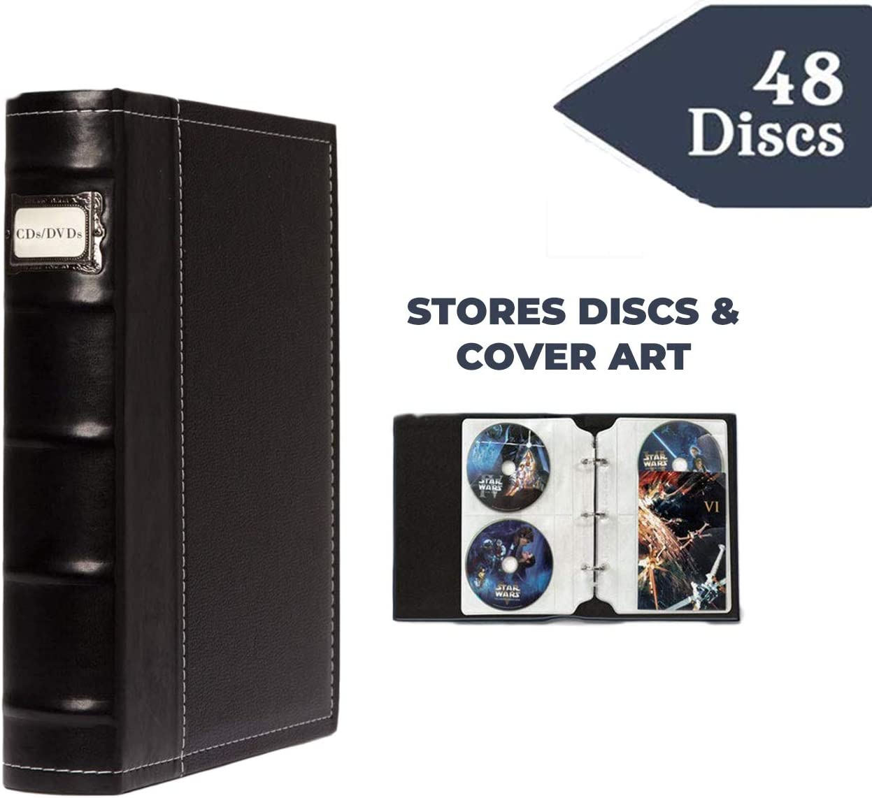 Stores up to 48 DVDs Acid Free Sheets Black CDs Bellagio-Italia Old World Book Box Blu-Rays or Valuables- Stores Cover Art