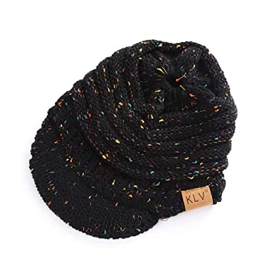 3bc800c43eb Indeals Women Baggy Embellishment Knit Hat Ladies Winter Fashion Crochet  Wool Ski Beanie Skull Caps with Hair Hole  Amazon.in  Clothing   Accessories