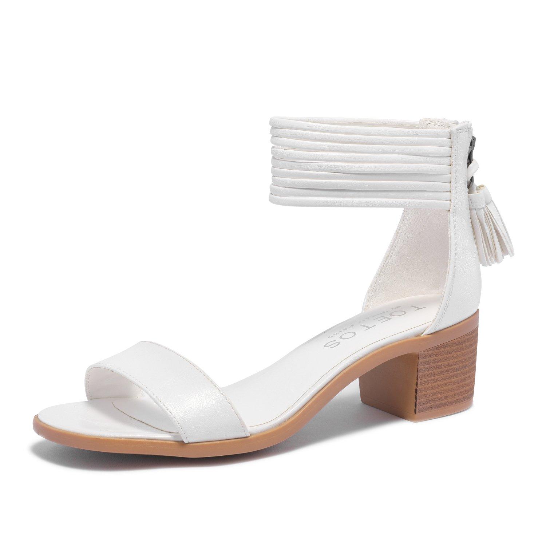 TOETOS Women's Ivy_01 White Pu Fashion Block Heeled Sandals Size 8 B(M) US