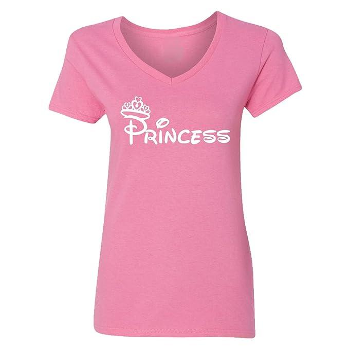4c68ab99 Amazon.com: Falcon's Shop Adult Princess Design V-Neck T-Shirts for ...
