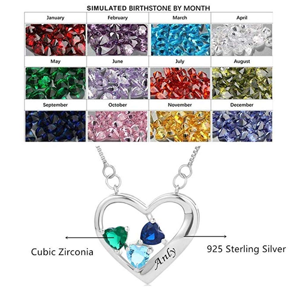 CAOLE Heart-Shaped Necklace Mother Wife Daughter Necklace Custom Name Engraving Custom Pendant Wife Couple Mothers Day Valentines Day Commemorative Gift Gift Necklace Womens