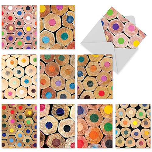M2001 Pencil Me In: 10 Assorted Blank All-Occasion Note Cards Depicting An Up Close Photographic View Of Colored Pencils At Their Core, w/White Envelopes. (End Card Sympathy)