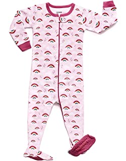 89b59265a9 Leveret Baby Girls Footed Pajamas Sleeper 100% Cotton Kids   Toddler Pjs  Sleepwear (6