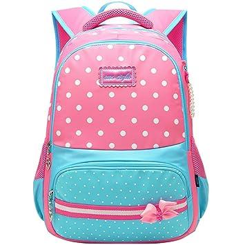 Uniuooi Primary School Bag Backpack for Girls Age 8-9-10-11-12-13-14-15  Polka Dot Waterproof Book Bag Travel Rucksack (Pink + Blue)  Amazon.co.uk   Luggage 2baba946b8837