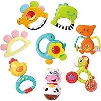 REMOKING Baby Rattle Teether Set,8 Pcs Dinosaur Rattle Toy Set,Early Educational Toys,Sensory Toys,Great Teething Gift…