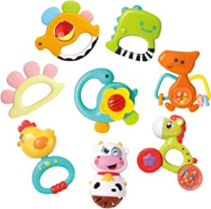 REMOKING Baby Rattle Teether Set,8 Pcs Dinosaur Rattle Toy Set,Early Educational Toys,Sensory Toys,Great Teething Gift Set for 3,6,9,12,18 Month Infant,Toddlers,Newborn