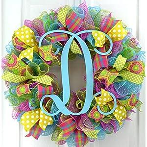 Monogram Summer Wreath | Spring Monogram Door Wreath | Pink, Turquoise, Yellow, Green : P1 32