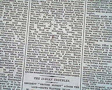 Other Historical Memorabilia Historical Memorabilia Doc Middleton Gang Outlaws Horse Thieves Nebraska Shootout 1879 Old Newspaper