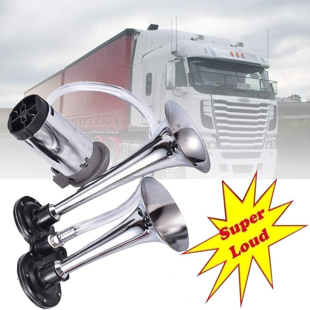 Super Laute 17,3 Zoll Single Tone Chrome Plated Zink Single Trompete Air Horn mit Kompressor Autolock Lufthorn Drucklufthorn Luftdruck-Fanfare auto Horn mit Kompressor 150DB 12V Hupe f/ür LKW Boot