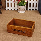 Coideal Wooden Tray Desktop Storage Holder/Remote Control Caddy Organizer Wood Box Container for Drawer, Desk, Office Supplies, Home, End Table (Vintage Wood Color, 19 x 13 x 6.5 cm)