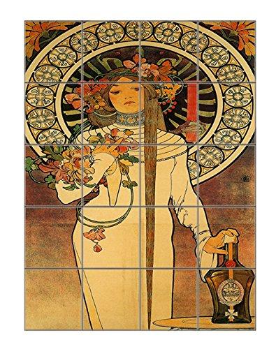Lance Parfum (Alphonse Mucha) Vertical Tile Mural Satin Finish 20