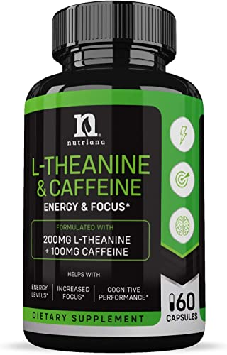 Best L-Theanine 200mg Supplement – Caffeine and L Theanine for Focus, Alertness Anxiety – Ltheanine Suntheanine with Caffeine Supplement Non GMO Gluten Free 60 Tablets