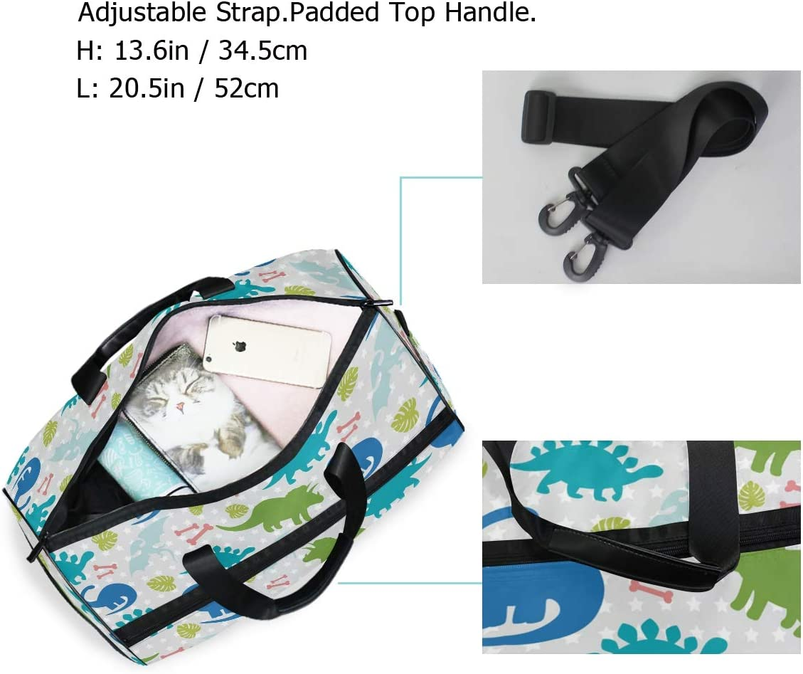 ALAZA Funny Colorful Cute Dinosaurs Sports Gym Duffel Bag Travel Luggage Handbag Shoulder Bag with Shoes Compartment for Men Women