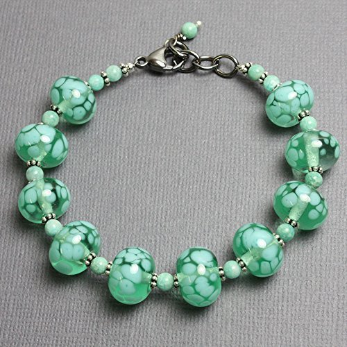 Green Lampwork Bracelet with Amazonite and Tribe Hill Sterling Silver