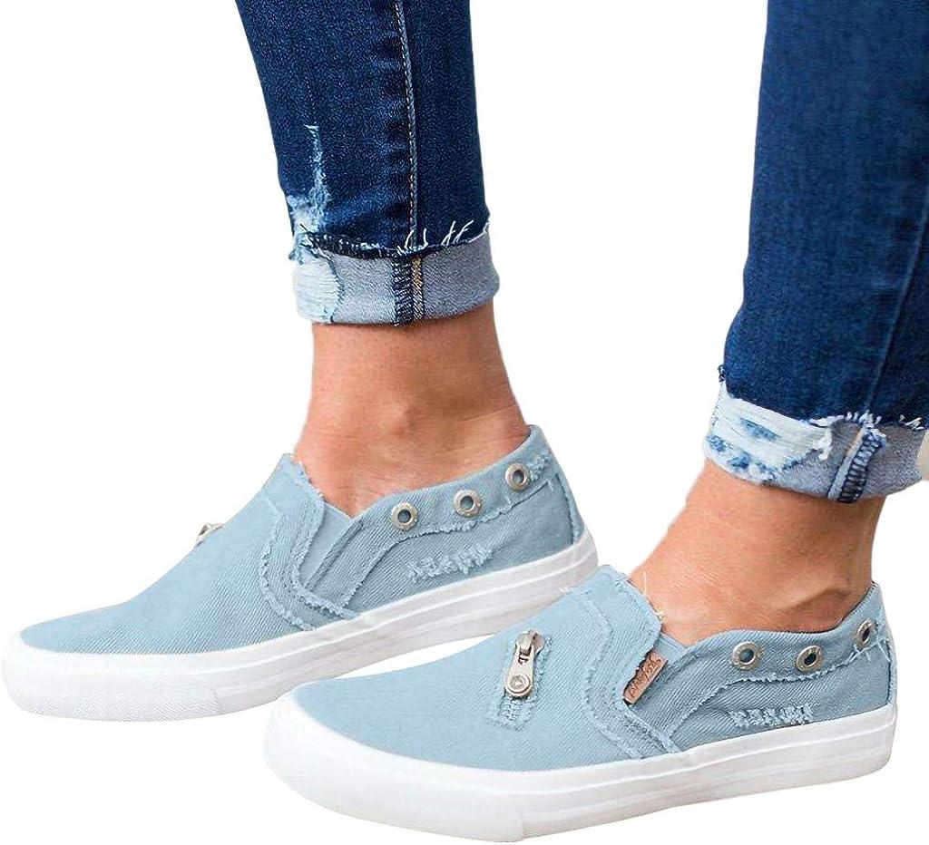 Zapatos de Vaquero Gimnasia Femenina y Lienzo con Cremallera Zapatillas de Moda Verano Low Casual Mujer Zapatillas Deportivas - Verano Correr Deportes Deportes Caminar: Amazon.es: Zapatos y complementos