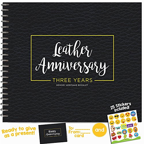 3RD ANNIVERSARY GIFTS FOR COUPLES BY YEAR - Three Year Booklet with Matching Card for Leather Anniversary. Third Anniversary Memory Journal - Unique 3 Year Wedding Gift for Husband or Wife!