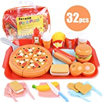Sotodik Play Food Toys Pretend Play Fast Food Toys Set Cutting Pizza Hamburger Fruit Playset for Toddler Kid Boys Girls Toys (Single tray-32PCS)